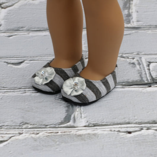 18 Inch Doll Shoes |Two Toned Gray Stripe Flats