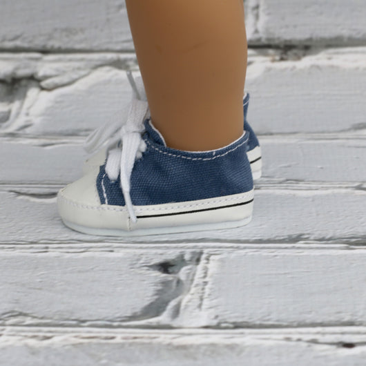 18 Inch Doll Shoes | Medium Blue Sneakers