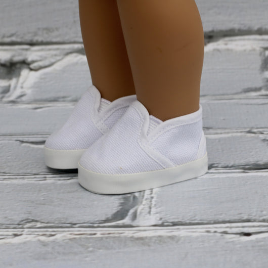 18 Inch Doll Shoes | White Slip On Sneakers