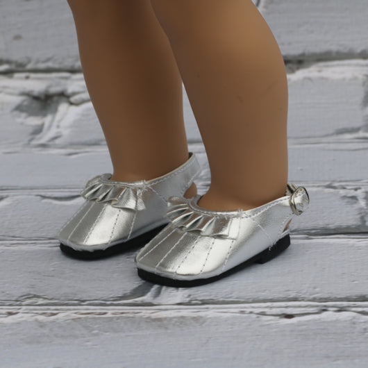 18 Inch Doll Shoes | Silver Ruffle Back Strap Flats