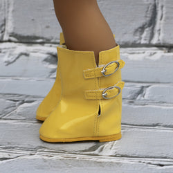 18 Inch Doll Shoes | Patent Yellow Buckle Rain Boots