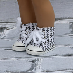 18 Inch Doll Shoes | White with Black Skull and Crossbones High Top Sneakers