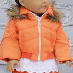 18 Inch Doll Clothes | Nylon Orange Fur Trim Coat
