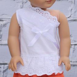 18 Inch Doll Clothes | White Eyelet Lace One Shoulder Top
