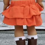 18 Inch Doll Clothes | Orange Knit Layered Skirt
