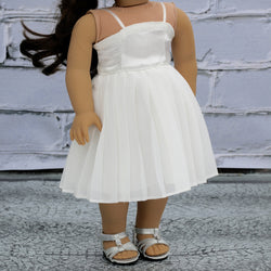 18 Inch Doll Clothes | Ivory Pleated Chiffon Dress