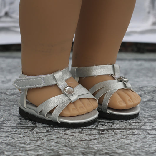 18 Inch Doll Shoes | Silver Short Heel Jewel Sandal