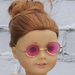 18 Inch Doll Accessories | Gold Round Frame Pink Tint Glasses for dolls such as American Girl