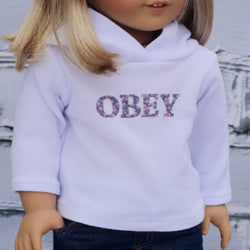18 Inch Doll Clothes | OBEY Graphic Hooded Long Sleeve T-Shirt