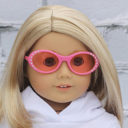 18 Inch Doll Accessories | Pink Oval Frame Pink Tint Glasses for dolls such as American Girl