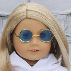 18 Inch Doll Accessories | Gold Round Frame Blue Tint Glasses for dolls such as American Girl