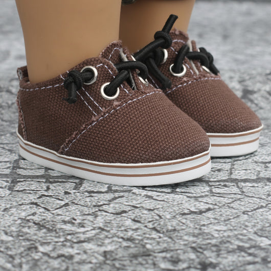 18 Inch Doll Shoes | Brown Bungee Sneakers