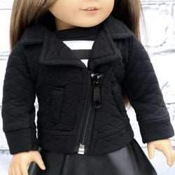 18 Inch Doll Clothes | Asymmetrical Black Quilted Jacket