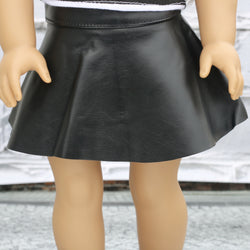 18 Inch Doll Clothes | Black Leather Skater Skirt