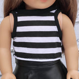 18 Inch Doll Clothes | Black and White Stripe High Neck Sleeveless Top