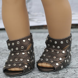 18 Inch Doll Shoes | Studded Bronze Gladiator Sandals