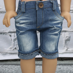 18 Inch Doll Clothes | Knee Length Distressed Denim Shorts