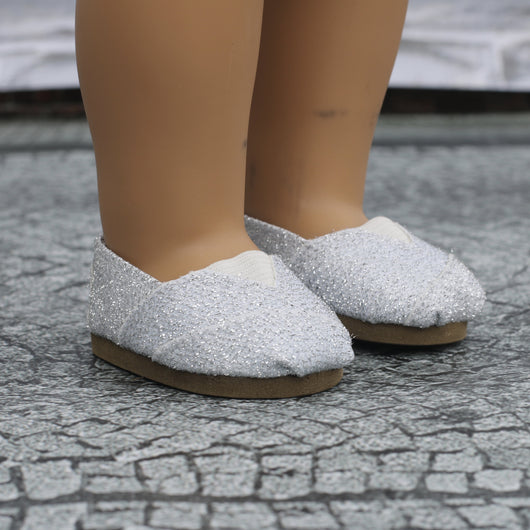 18 Inch Doll Shoes | Silver Glitter Slip On