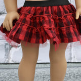 18 Inch Doll Clothes | Black and Red Buffalo Plaid Tulle Skirt