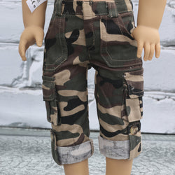 18 Inch Doll Clothes | Army Camouflage Capri Pants