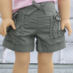 18 Inch Doll Clothes | Olive Green Shorts