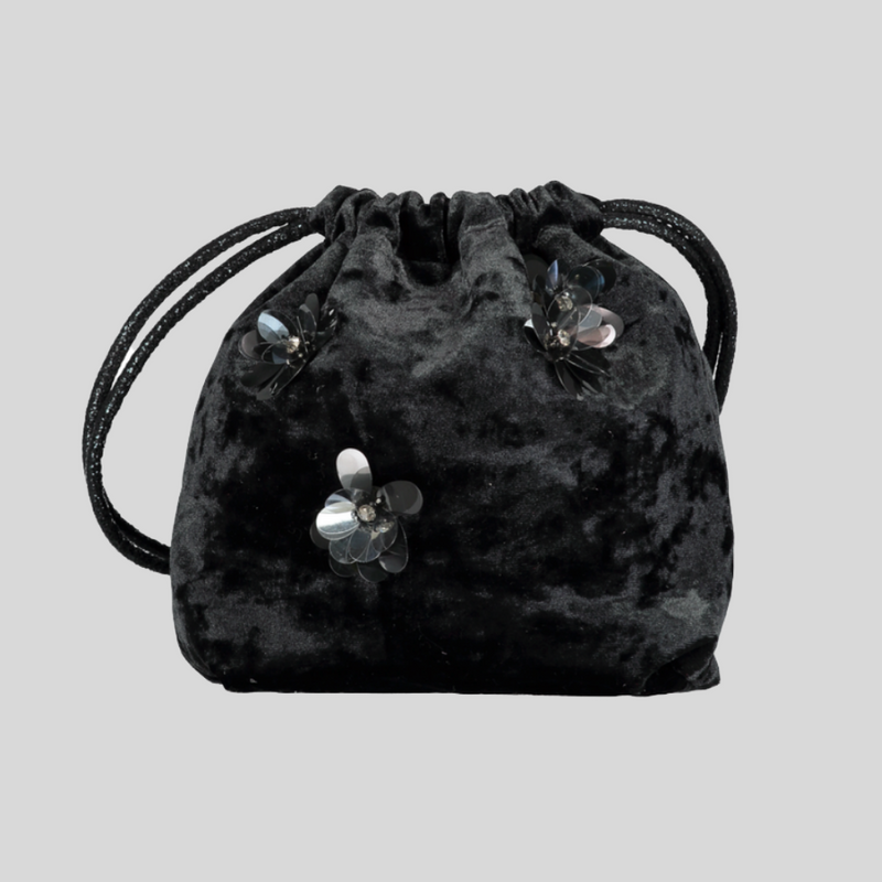 Black Crushed Velvet Prettysac