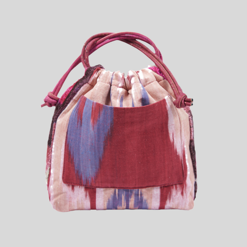 Red, White & Blue Cotton & Silk Ikat