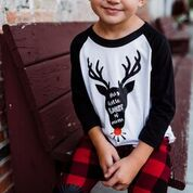 Shine Bright Black Reindeer Raglan