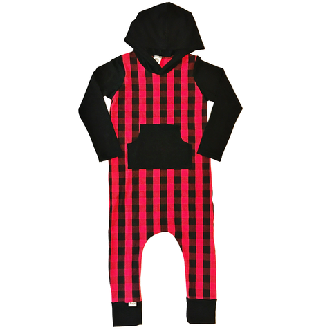 Buffalo plaid Hooded Bamboo Romper