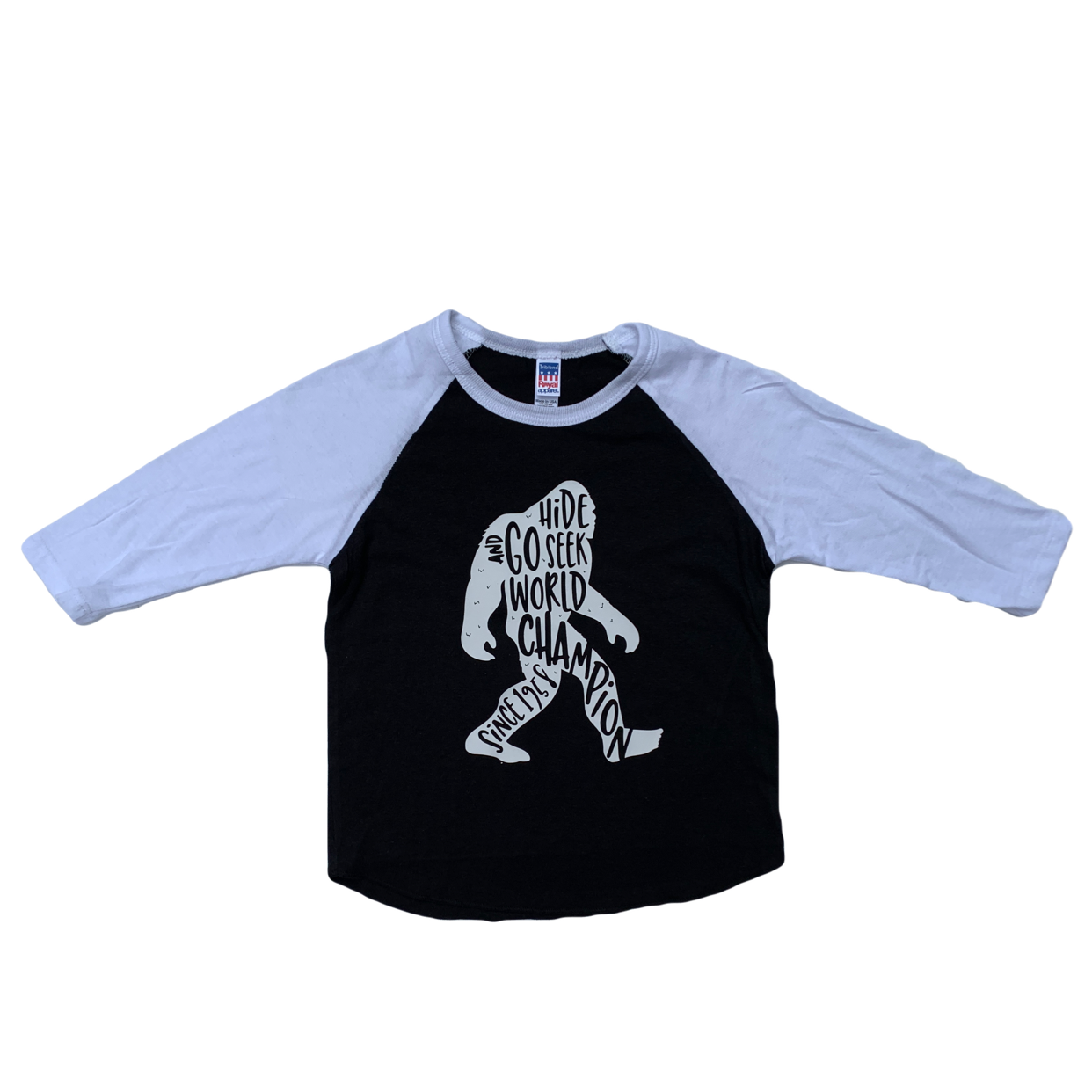 Sasquatch White Sleeve Black Raglan