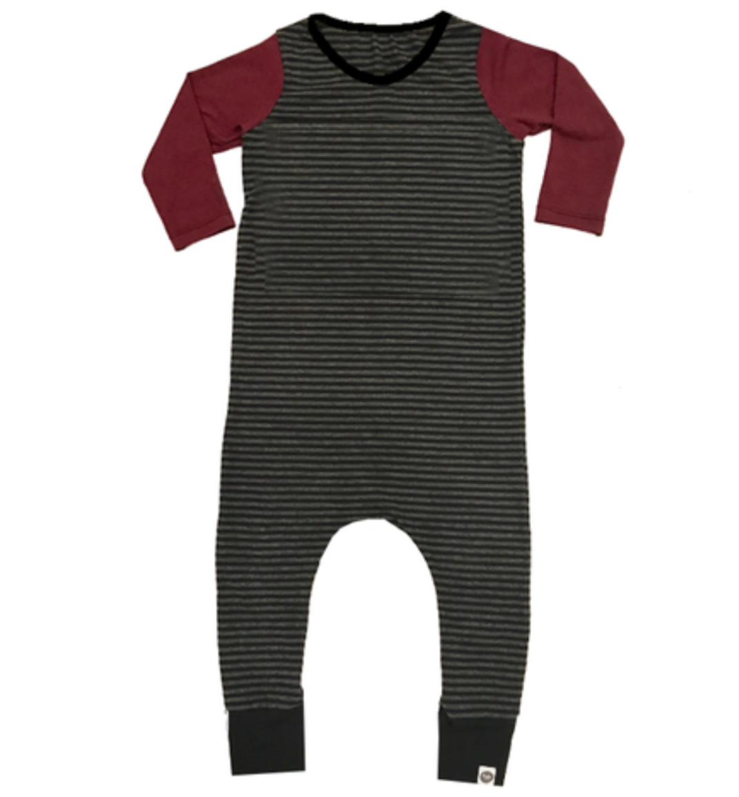 Bamboo Black Charcoal Stripe Maroon Long Sleeve Basic Romper
