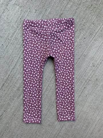 Organic 2t Mauve Hearts Leggings