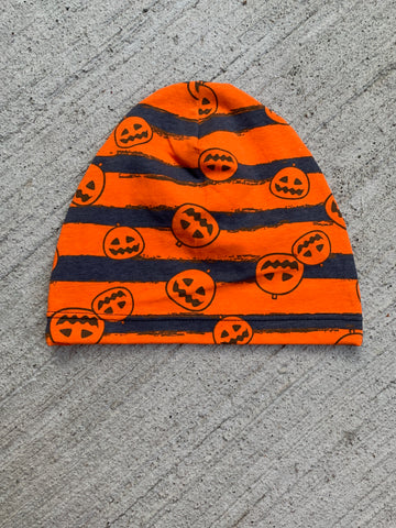Child Orange black stripe pumpkin Beanie
