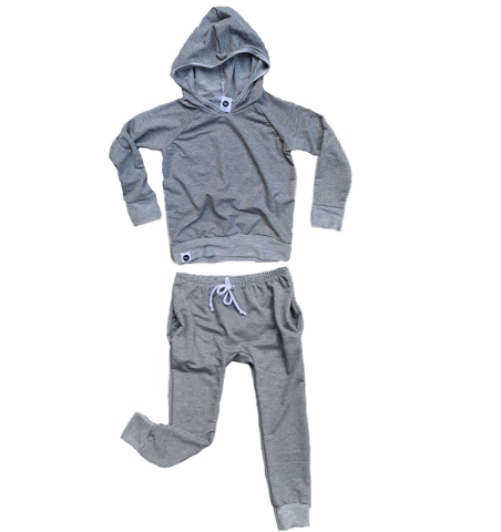Micro Stripe Off White/Grey French Terry Jogger Set