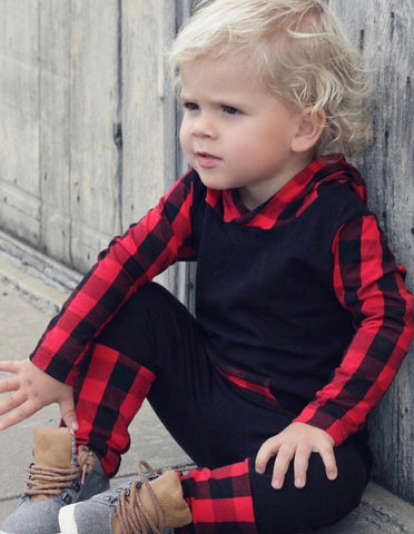 Buffalo Plaid Hooded Romper (Black Body)