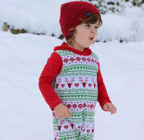 Holiday Print Hooded Romper