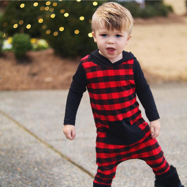 Buffalo Plaid Hooded Romper