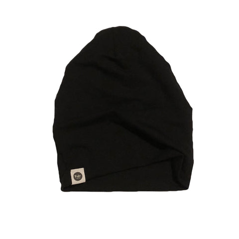 Black French Terry Bamboo Slouchy Beanie