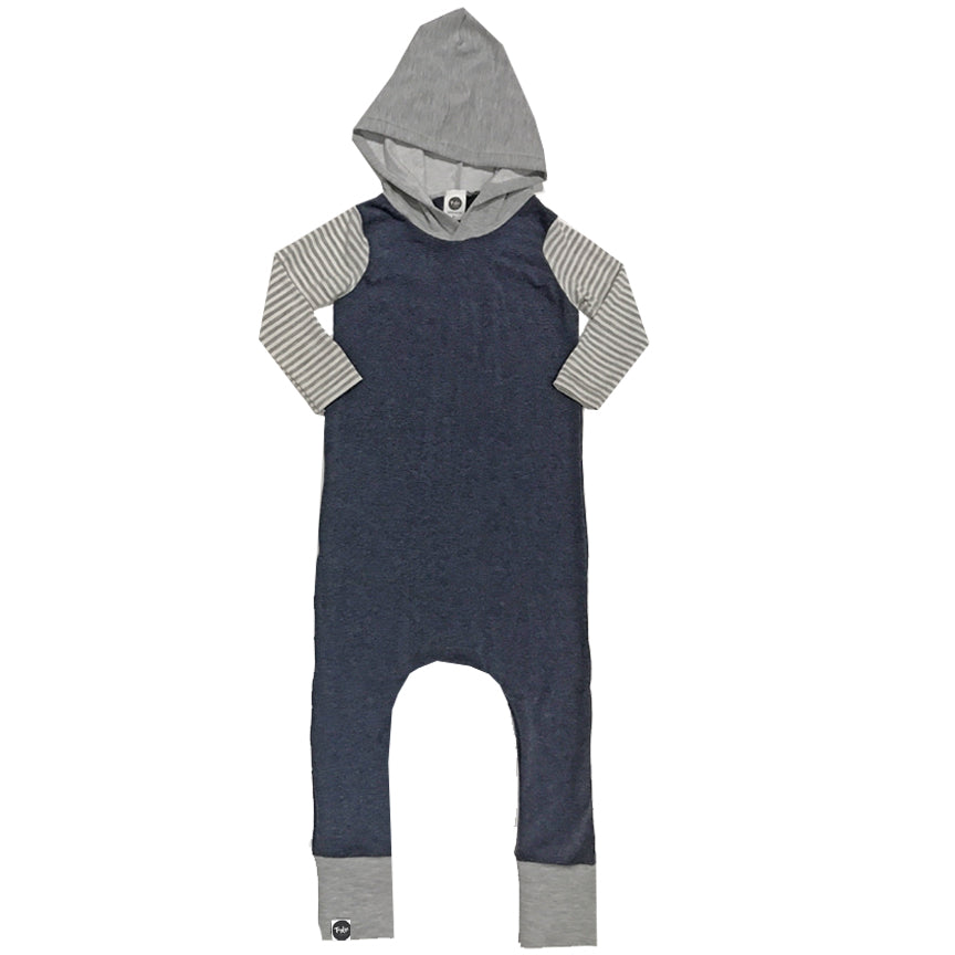 Bamboo Heathered Blue Hooded Romper