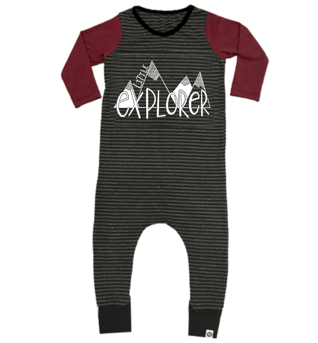 Bamboo Charcoal Black Stripe Long Sleeve Explorer Romper