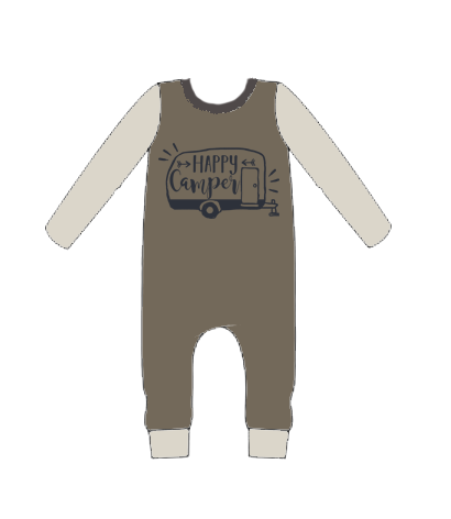 Bamboo Long Sleeve Happy Camper Romper