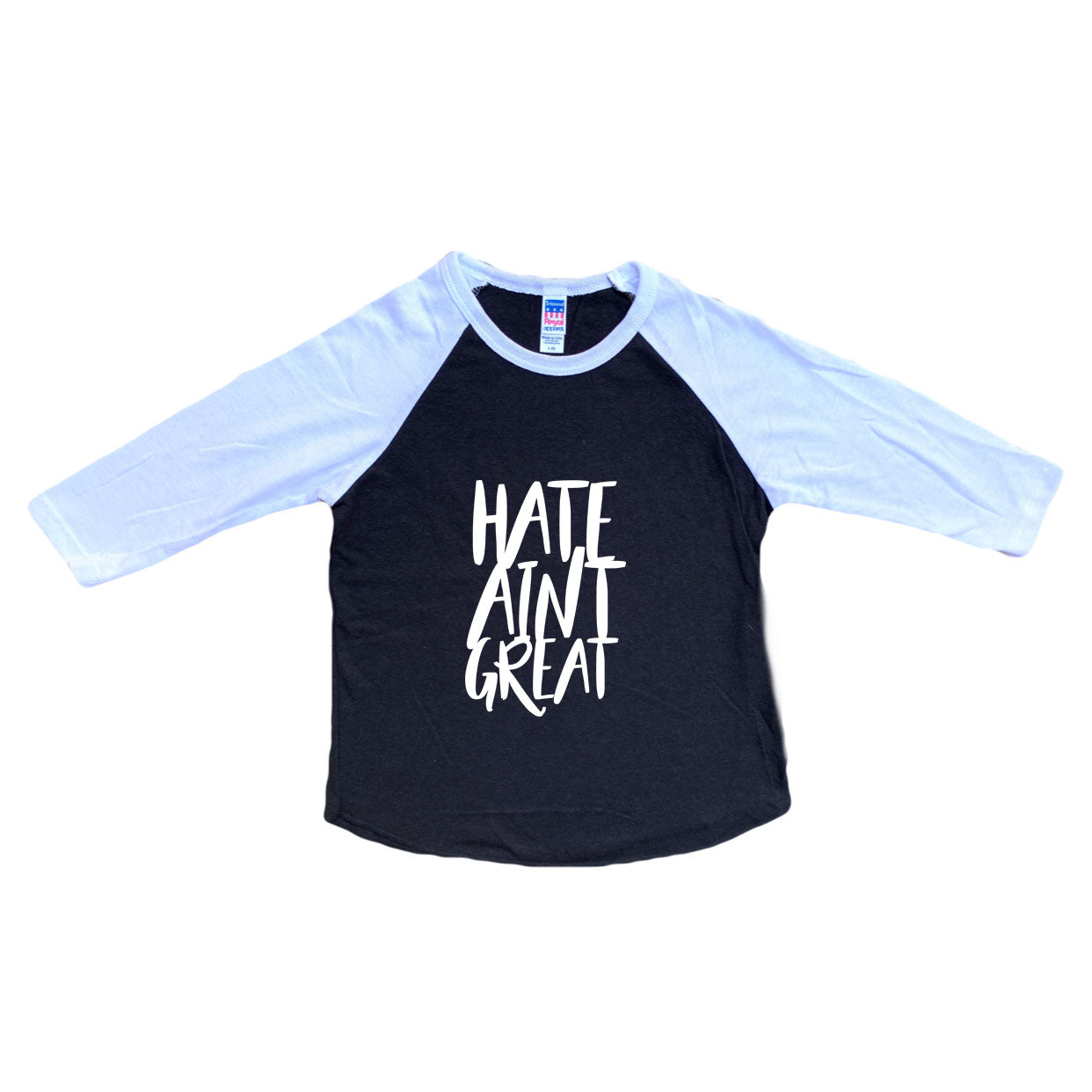 Hate Aint Great Black/White Raglan