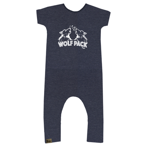 Bamboo Heathered Blue Wolf Pack Romper