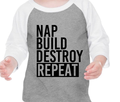 Build Destroy Repeat White Raglan