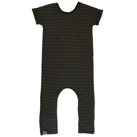 Bamboo Charcoal Black Stripe Basic SS Romper