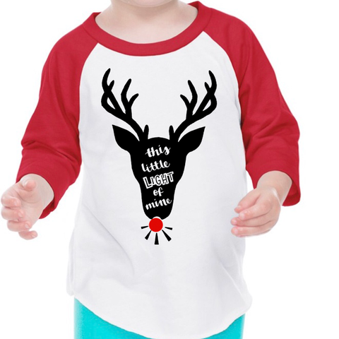 Shine Bright Red Reindeer Raglan