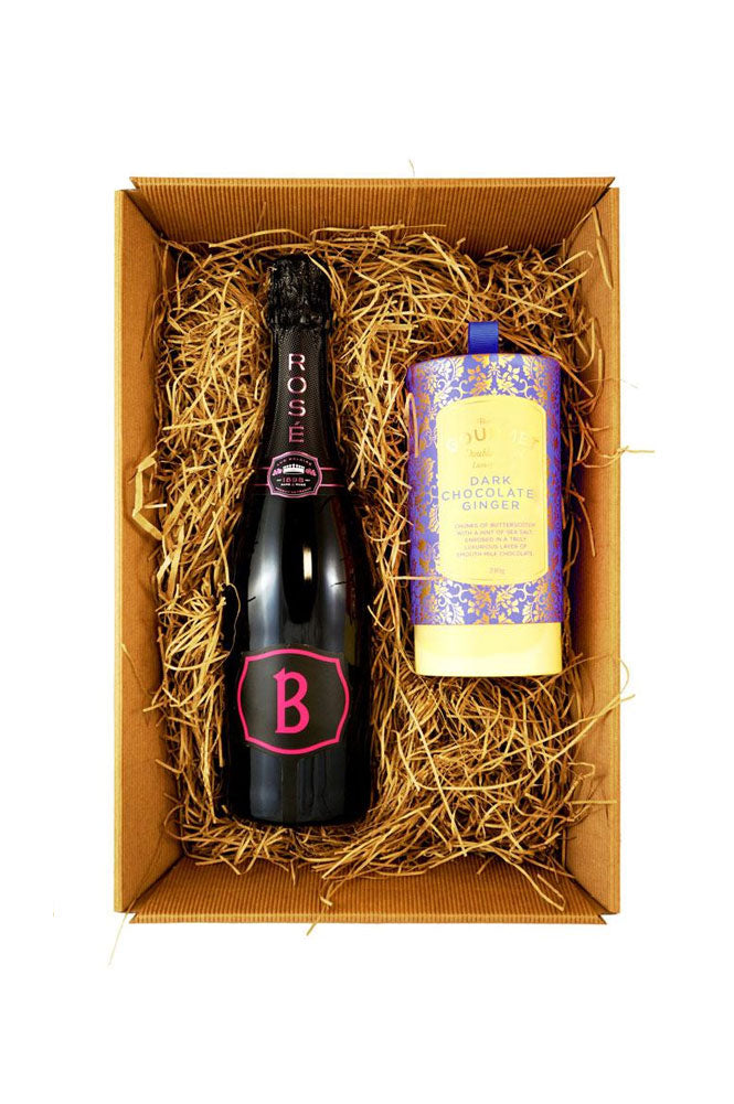 Luc Belaire Rosé Sparkling Wine 75cl Gift Set  with Bon Bons Gourmet Luxury Biscuits
