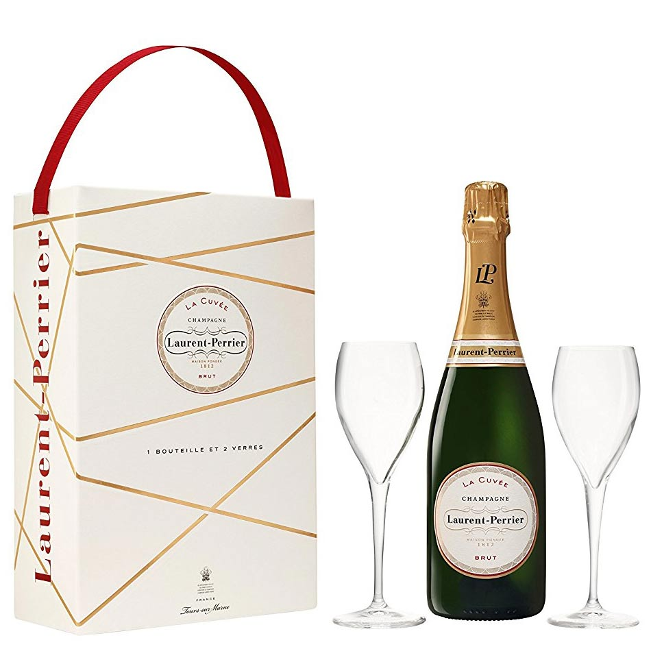 Laurent Perrier La Cuvee Champagne NV 75cl and 2 Flutes Gift Box