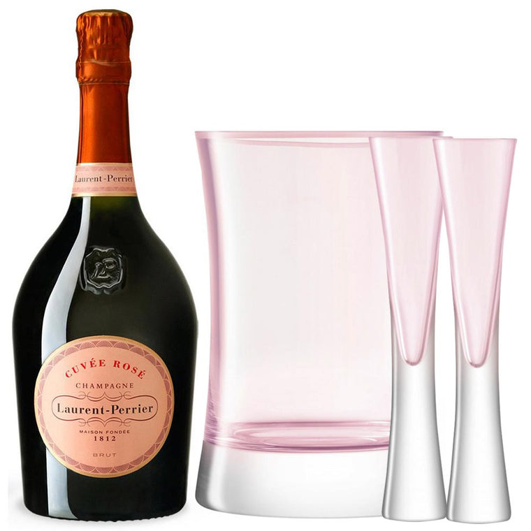 Laurent Perrier Rosé, LSA Moya Blush Flutes & Ice Bucket Gift Set