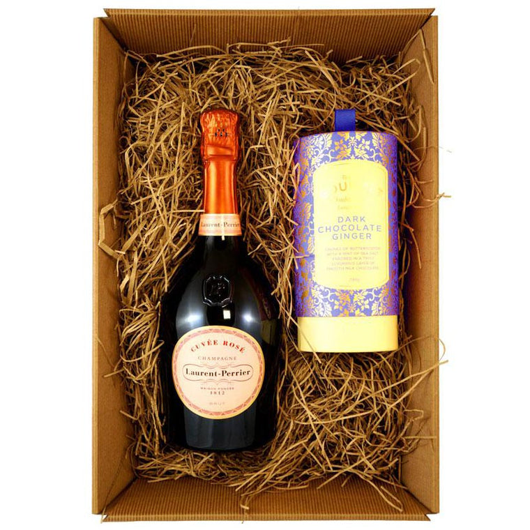Laurent Perrier Rosé Champagne with Bon Bons Gourmet Luxury Biscuits
